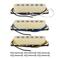 NEW 3PCS Alnico 5 Single Coil Pickups Strat SSS Guitar Pickup Set N/M/B Cream