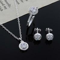 Womens 925 Silver Plated Crystal Necklace Earring Ring Set Jewelry Gift DQCA