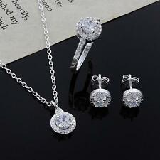 Womens 925 Silver Plated Crystal Necklace Earring Ring Set Jewelry NEUS