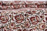 5 Yard Indian Hand Block Print Cotton Natural Sanganeri Print Fabrics Bohemian