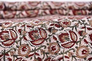 4.6m Indien Main Bloc Coton Imprimé Naturel Sanganeri Imprimé Tissus Bohème