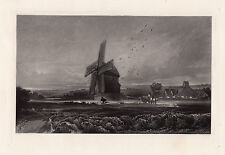 """Awesome Framed DAVID COX 1800s Mezzotint Engraving """"Landscape with Windmill"""" COA"""
