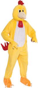 Chicken Plush Mascot Adult Costume Yellow Bird Suit Mens Funny Comical Halloween