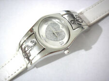 Silver Tone Metal Case White Leather Band Baby Phat Ladies Watch Item 5447