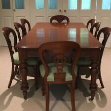 Antique Victorian mahogany extension 6/8 seat dining table & 8 chairs
