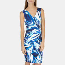Karen Millen Blue White Graphic Stripe Scarf Print Stretch V Neck Pencil Dress 2