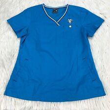 Tokidoki by Koi Women's S Blue Embroidered Cow Scrub Top V-Neckline