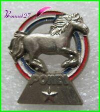 Pin's Cheval Poney Horse dasn un anneaux bleu blanc rouge  #235