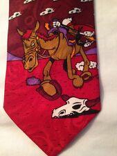 DISNEY  Neck Tie DONALD DUCK ON HORSE - Buffalo Skulls  Mickey Unlimited
