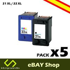 5 Cartuchos Compatibles 21 XL Negro y 22 XL Color para HP PSC 1415