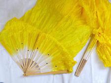 2 XL Queue 1.4 m jaune en soie synthétique danse Hand Fan Chinese Stage Party PERFORMANC A6