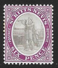 More details for st kitts-nevis 1908 6d. grey-black & deep purple sg 19a (mint)