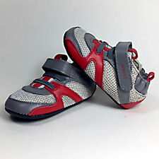 NIB Robeez Mini Shoez Henry Baby Shoes Size 2 3-6 Months Grey/Red