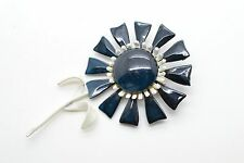 Vintage Flower Enamel Paint Brooch Navy Blue Red Daisy Large Very Nice!