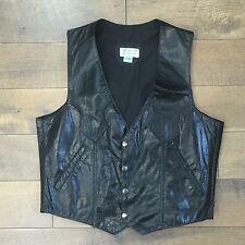 Mens Vtg Black Leather Vest Snap Front Motorcycle Western Biker Size 40 Chest 44