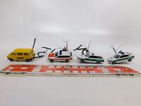 CG605-0,5# 4x Herpa 1:87 PKW: VW ADAC+MB+BMW Polizei; beleuchtet, teilw. defekt