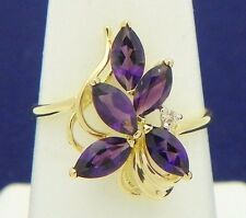 AMETHYST & DIAMOND ACCENT COCKTAIL RING SOLID 14 K GOLD 1.9 g SIZE 6.75