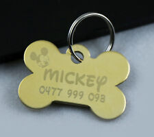 PET TAG PERSONALISE DDEEP METAL ENGRAVED SOLID BRASS DOG CAT ID TAG  SMALL SIZE