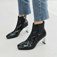 Womens Block Heel Square Toe Side Zipper Ankle Boots Casual Pumps Shoes Court US