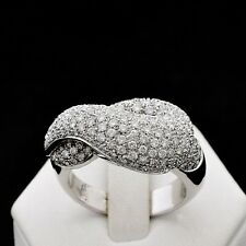 Ring Tangle White Gold 18 Carats with Pave' of Diamonds Brilliant Cut 3.2 CT