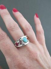 Vintage Ruby Emerald Turquoise Quartz Silver Ring
