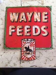 Vintage Antique Wayne Feeds Embossed Metal Advertising Sign ~ Farming Oil Gas