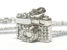 Crystal Miniature Camera Charm Pendant Fashion Necklace