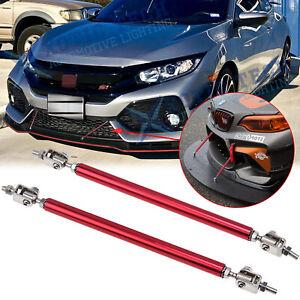 2x Red Adjust Bumper Lip Splitter Strut Rod Tie Support Bars Honda Accord Civic