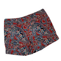 New York & Company Mid Rise Cuff Shorts Paisley Print Size 4 Red Blue Green