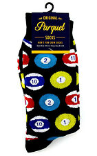 Pool Balls Mens Black Crew Socks Fun Novelty Casual Fashion Billiards Gift New