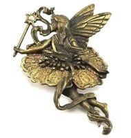 Fairy Brooch Pin by JJ Jonette Gold Bronze Tone Rhinestone Multi Sparkles