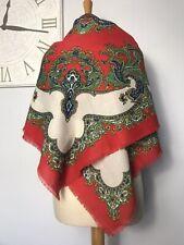 Large Red Paisley Square Cotton Scarf Hijab Shawl