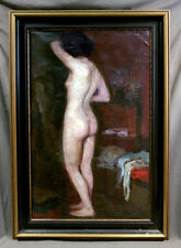 European 19th Century Oil painting of Nude Woman Standing Framed and Signed