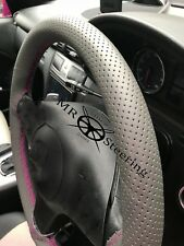 FOR VW GOLF PLUS GREY PERFORATED LEATHER STEERING WHEEL COVER HOT PINK DOUBLE ST