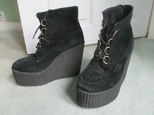 UNDERGROUND BLACK SUEDE WEDGE PLATFORM  CREEPER BOOTS SIZE 4  CREEPERS.