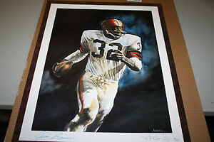 CLEVELAND BROWNS JIM BROWN #32  SIGNED LITHOGRAPH JSA CERTIFIED HOF 1971