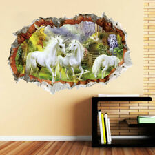 Unicorn In Dreamland Forest 3D Art Wall Sticker Kids Girl Room Decor Decal Mural