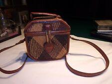 Rare Vintage Straw Shoulder Bag Trimmed In Leather, 1960s