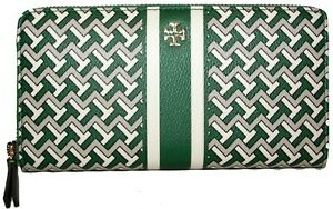 TORY BURCH  T Zag Emerald Green Leather Zip-Around Clutch  Wallet NWT