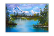 Snow Covered Mountain and Lake Landscape Glossy Poster Art Wall Pictures
