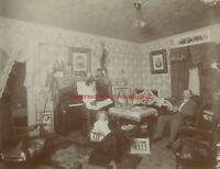 1900s BUFFALO NEW YORK VICTORIAN FAMILY & DOG INTERIOR  LARGE CABINET CARD PHOTO