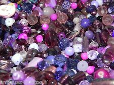 NEW GLASS 4/oz of 6-15mm Purples & Similar Colors MIXED LOOSE BEADS LOT (p4)