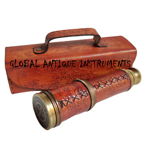 """Antique Spyglass Pocket Telescope 16"""" Brass Marine Expandable With Leather Case"""