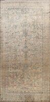 Antique Vegetable Dye Floral Peach Beige Kirman Lavar Area Rug Hand-knotted 9x16