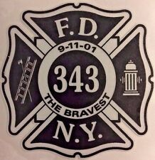 "Fire Dept, Firefighter, New York's Bravest, 343 Decal 3.75"" wide  #FD143"