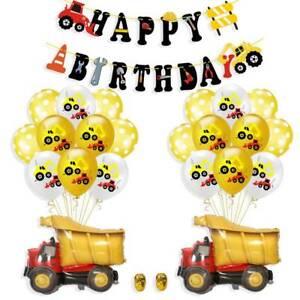 Construction Truck Excavator Theme Birthday Party HAPPY BIRTHDAY Pull Flag rg