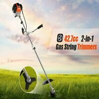 42.7cc Weed Eater Gas Powered Weed Wacker 2-in-1 Straight Shaft String Trimmer