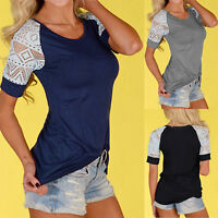 Women Lace Tops Crew Neck Raglan Sleeve T-Shirt Casual Tee Blouse Holiday Summer
