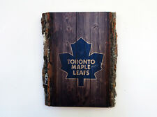 Toronto Maple Leafs Wood Sign - Natural Edge Wooden Plaque with Maple Leafs Logo