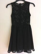 Stunning Ladies Sleeveless Black Lace Mini Skater Dress Size 8 By Missguided